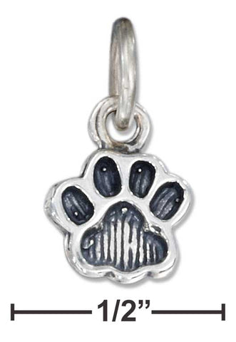 Sterling Silver Antiqued Small Paw Print Charm | Jewelry Store