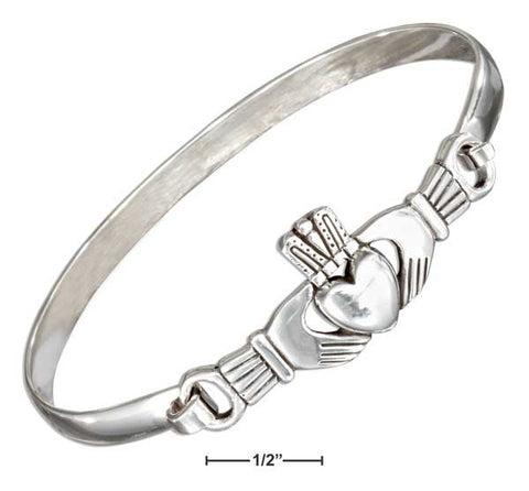 Sterling Silver Antiqued Claddagh Bangle Bracelet With Latch Hook Closure | Jewelry Store