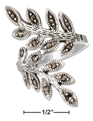 Sterling Silver Marcasite Leaf Bypass Ring | Jewelry Store