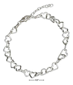 "Sterling Silver 7"" Italian Small Open Heart Link Bracelet 