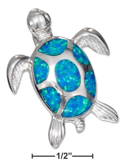 Sterling Silver Synthetic Blue Opal Sea Turtle Pendant | Jewelry Store