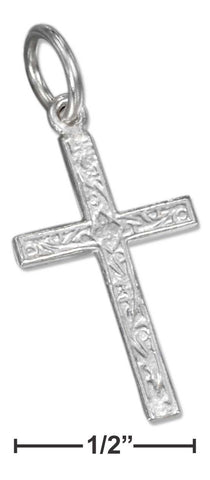 Sterling Silver Squared Cross Charm With Scrolled Design | Jewelry Store
