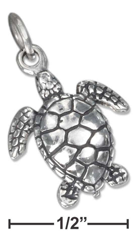 Sterling Silver Three Dimensional Sea Turtle Charm | Jewelry Store