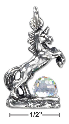 Sterling Silver Three Dimensional Unicorn Charm With Clear Crystal Ball | Jewelry Store