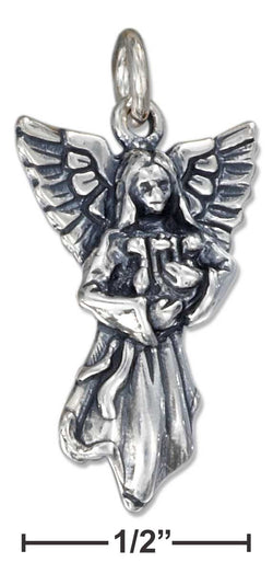 Sterling Silver Antiqued Angel Charm With Harp | Jewelry Store