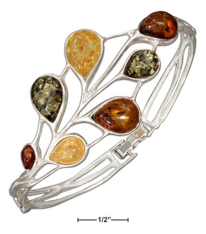 Sterling Silver Green, Yellow And Honey Amber Teardrops Hinged Bracelet | Jewelry Store