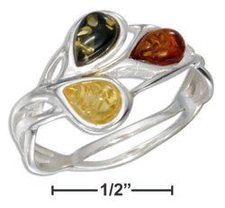 Sterling Silver Multicolor Amber Teardrop Open Weave Ring | Jewelry Store