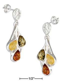 Sterling Silver Green Amber, Yellow Amber And Honey Amber Teardrop Earrings | Jewelry Store