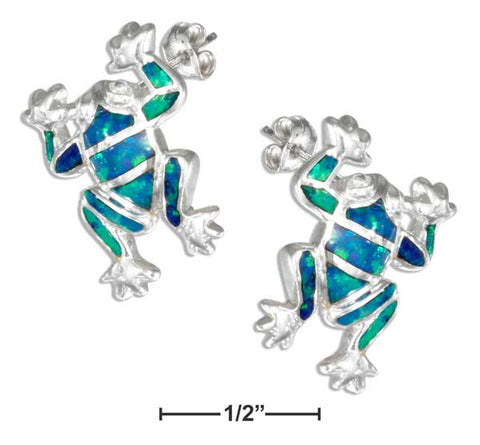 Sterling Silver Synthetic Blue Opal Frog Earrings | Jewelry Store