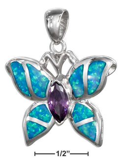Sterling Silver Purple Cubic Zirconia And Synthetic Blue Opal Butterfly Pendant | Jewelry Store