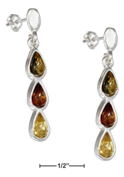 Sterling Silver Yellow, Honey And Green Amber Teardrop Earrings | Jewelry Store