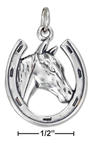 Sterling Silver Antiqued Horse Head In Horseshoe Charm | Jewelry Store