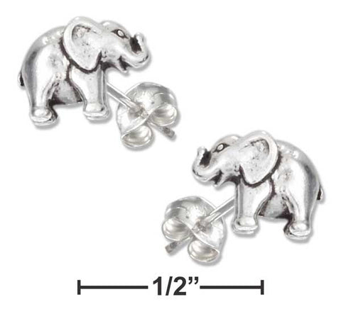Sterling Silver Mini Elephant Earrings On Hypo-Allergenic Steel Posts And Nuts | Jewelry Store