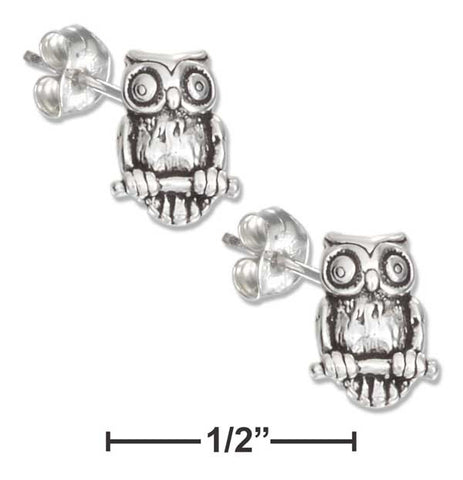 Sterling Silver Mini Owl Earrings On Hypo-Allergenic Steel Posts And Nuts | Jewelry Store