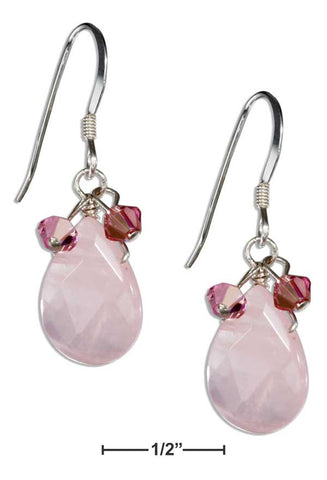 Sterling Silver Rose Quartz Teardrop Earrings With Pink Austrian Crystals | Jewelry Store