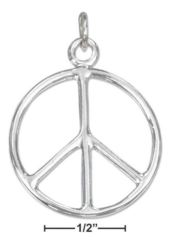 Sterling Silver 23mm High Polish Peace Sign Charm | Jewelry Store