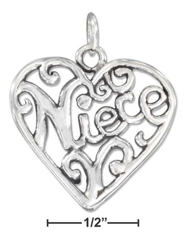 "Sterling Silver Open Filigree Heart ""Niece"" Charm 