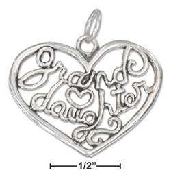 "Sterling Silver Open Filigree Heart ""Granddaughter"" Charm 