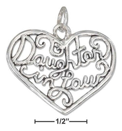 "Sterling Silver Open Filigree Heart ""Daughter In Law"" Charm 
