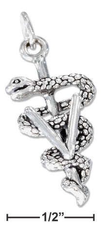 "Sterling Silver Veterinary Symbol Charm With ""V"" And Wrapped Snake 