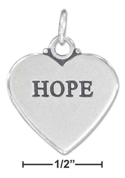 "Sterling Silver ""Hope"" Affirmation Heart Charm 