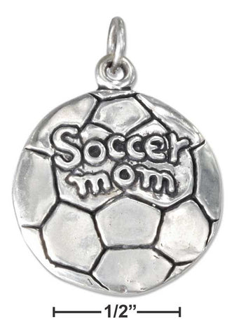 "Sterling Silver Antiqued Soccer Ball With ""Soccer Mom"" Charm 