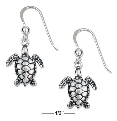 Sterling Silver Antiqued Mini Swimming Turtle Earrings On French Wires | Jewelry Store