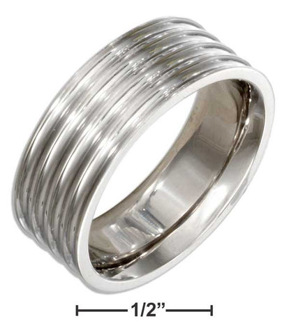 Stainless Steel 8mm Multi Ribbed Band | Jewelry Store