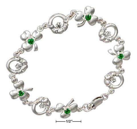 "Sterling Silver 7"" Claddagh And Shamrock Bracelet With Green Glass 