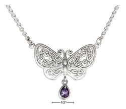 "Sterling Silver 18"" Knotted Celtic Butterfly Necklace With Amethyst Teardrop 
