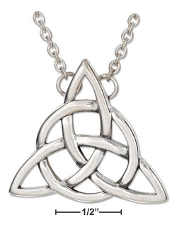 "Sterling Silver 18"" Celtic Trinity Knot Necklace With Cable Chain 