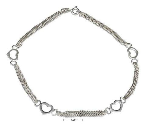 "Sterling Silver 10"" Triple Strand Chain And Open Hearts Anklet 