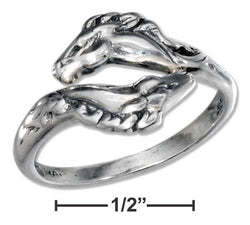 Sterling Silver Adjustable Horse Heads Bypass Ring | Jewelry Store