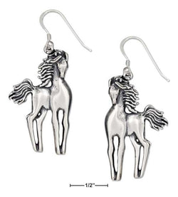 Sterling Silver Slender Standing Horses Earrings On French Wires | Jewelry Store