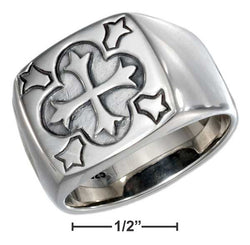 Sterling Silver Mens Square Ring With Cross | Jewelry Store