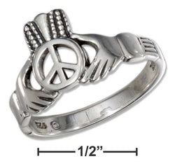 Sterling Silver Peace Symbol Heart In Hands Ring | Jewelry Store