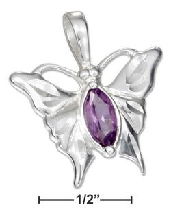 Sterling Silver High Polish Butterfly Pendant With Purple Cubic Zirconia | Jewelry Store