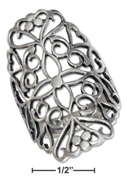 Sterling Silver Long Filigree Ring With Cross Pattern Center | Jewelry Store