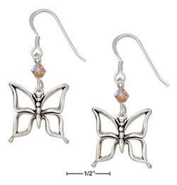 Sterling Silver Open Butterfly Earrings With Orange Swarovski Crystals | Jewelry Store