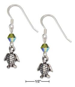 Sterling Silver Swimming Turtle Earrings With Green Swarovski Crystals | Jewelry Store