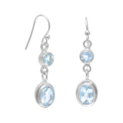 Round and Oval Blue Topaz Earrings on French Wire | Jewelry Store