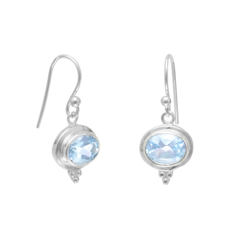 Oval Blue Topaz French Wire Earrings | Jewelry Store