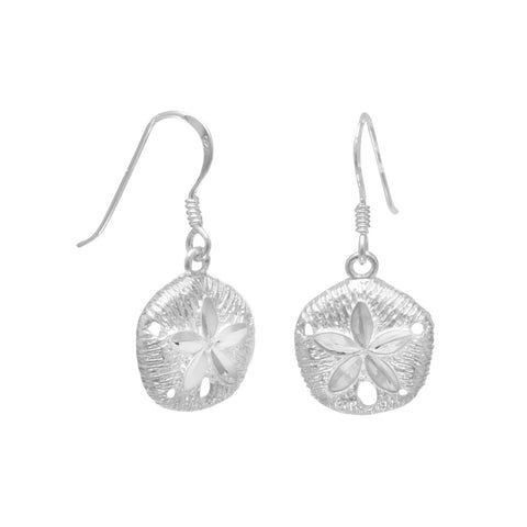 Diamond Cut Sand Dollar French Wire Earrings | Jewelry Store