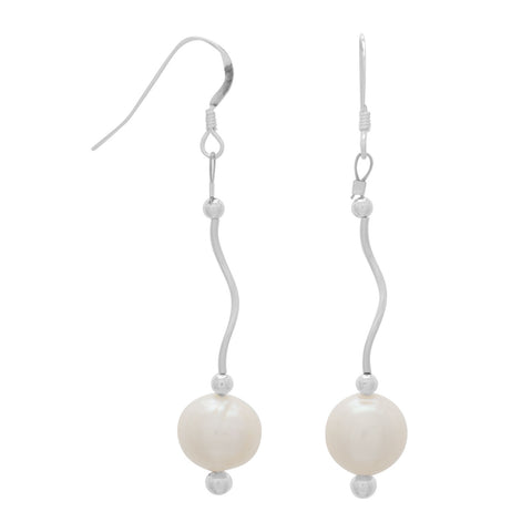 Wave Design Earrings with Cultured Freshwater Pearl Drop | Jewelry Store