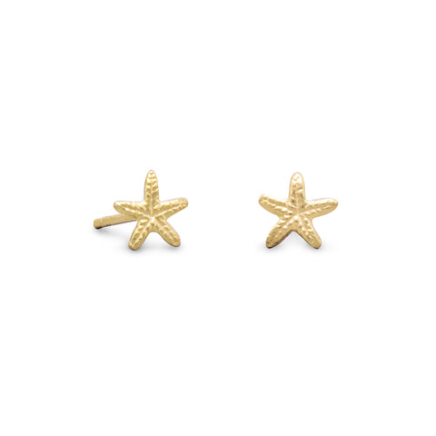 Gold Plated Starfish Stud Earrings | Jewelry Store