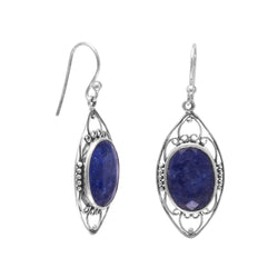 Polished Rough-Cut Sapphire French Wire Earrings | Jewelry Store