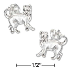 Sterling Silver Mini Prancing Cat Earrings On Hypo-Allergenic Steel Posts And Nuts | Jewelry Store