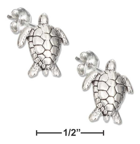Sterling Silver Mini Sea Turtle Earrings On Hypo-Allergenic Steel Posts And Nuts | Jewelry Store