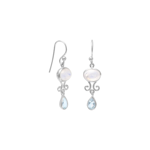 Rainbow Moonstone and Blue Topaz Drop Earrings | Jewelry Store