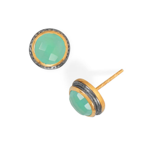 Two Tone Chalcedony Stud Earrings | Jewelry Store